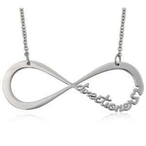 One Direction, Stunning necklace in silver alloy with an infinity symbol that has `directioner` on it